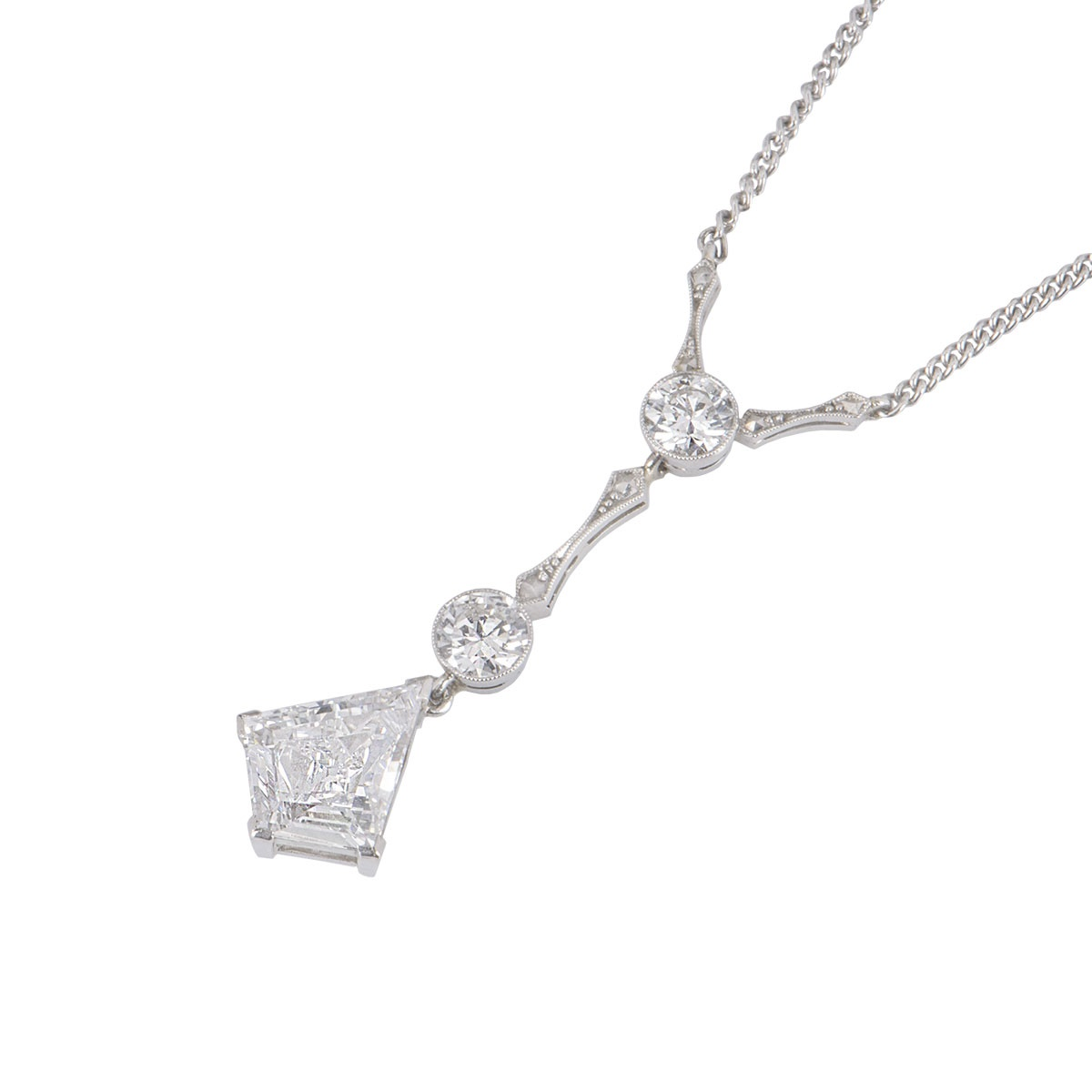 Platinum Diamond Art Deco Style Necklace